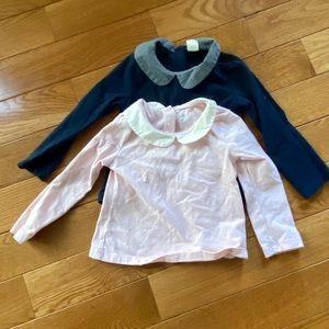 Toddler Girl Shirts w/ Peter Pan collar, like new